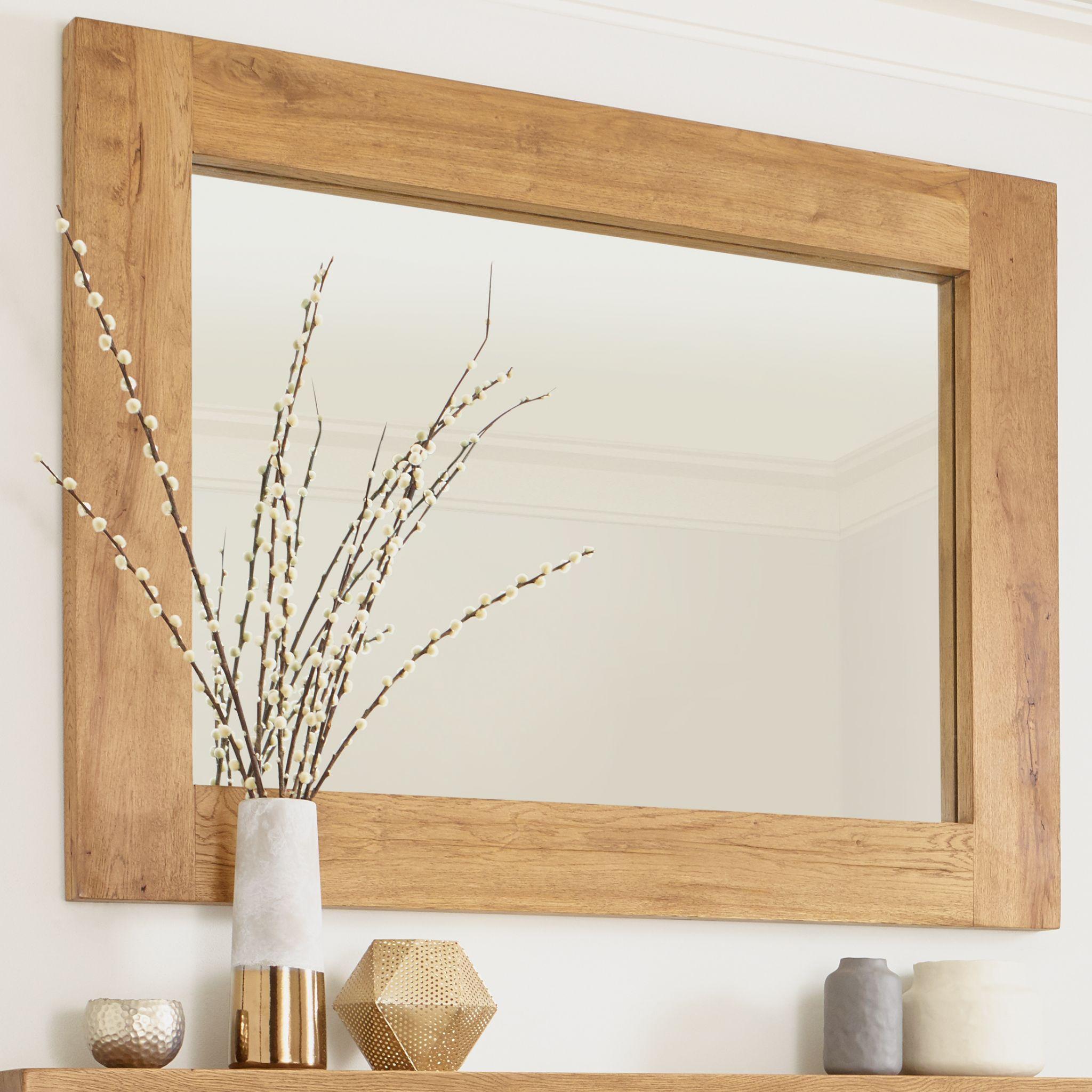 Banbury Natural Light Oak Rustic Wall Mirror 105cm X 75cm