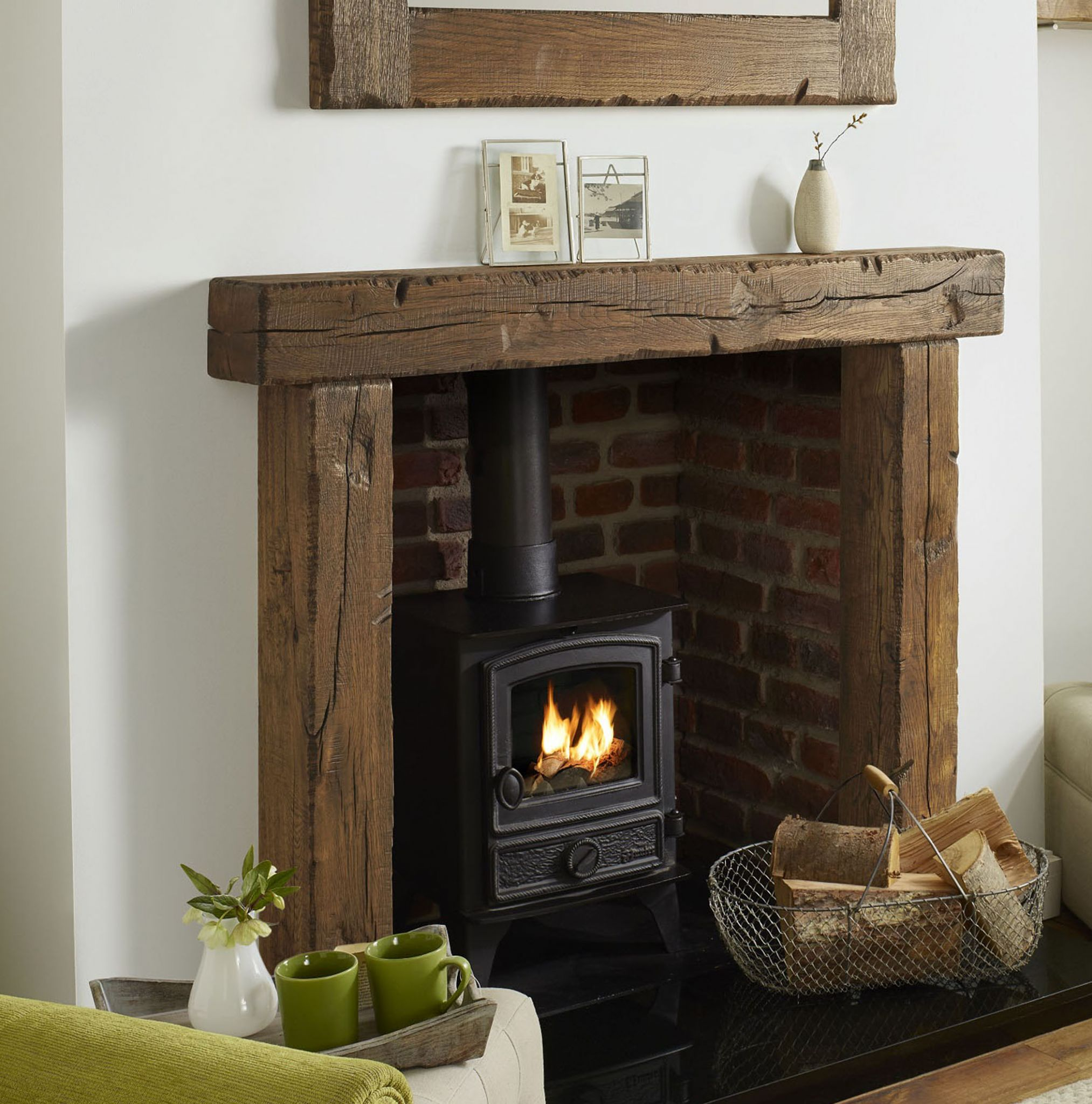 Oak Fire Surround Solid European Character Beam Reclaimed