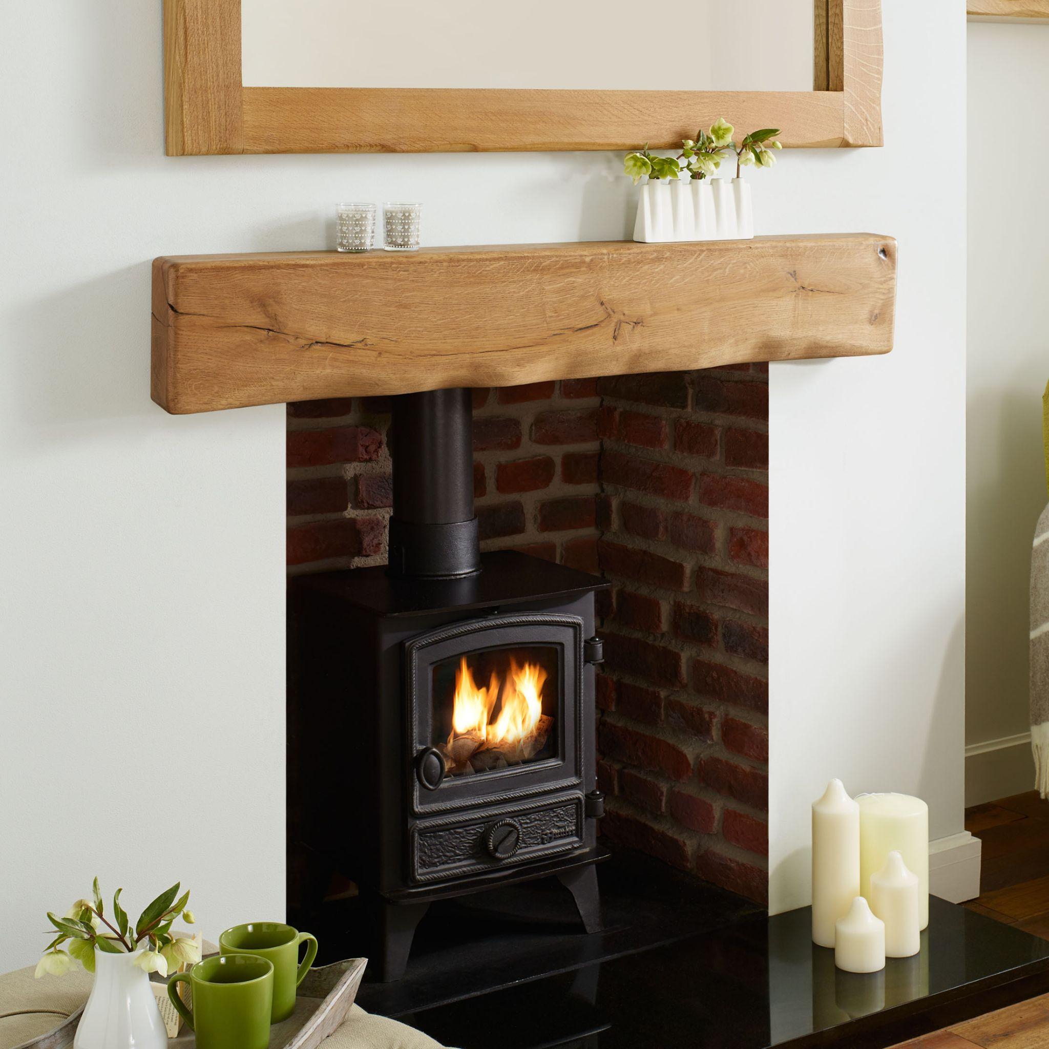 Solid Oak Beam Rustic Character Mantel Shelf
