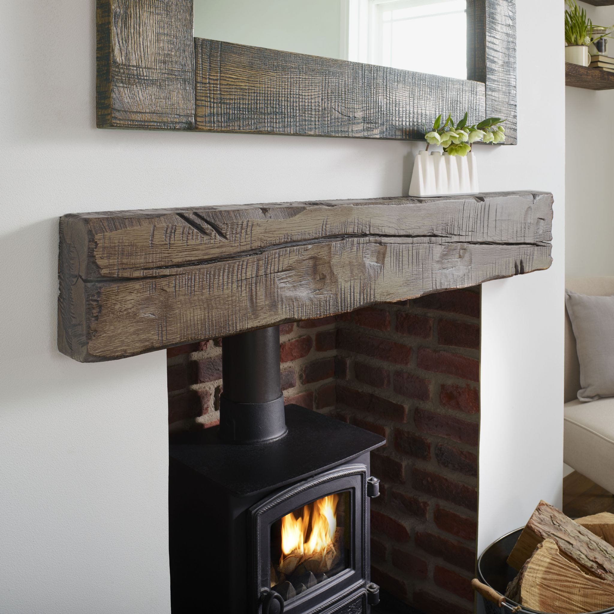 Oak Solid Mantel Reclaimed Character Rustic Shelf Beam mON8n0Pyvw