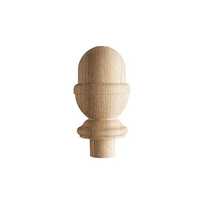 Solid White Oak Acorn  Post Cap for 90mm Full Newel