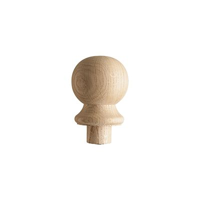 Solid White Oak Ball Post Cap for 90mm Full Newel
